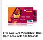 FREE Axis Bank virtual Debit card in -180 seconds