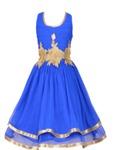 Aarika Girls Blue Solid Fit & Flare Dress