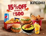 Flat 15% off on order amount Rs.500 - Upto Rs1000