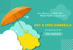 FREE Umbrella with PIZZA Order Pizzas worth 300 Use Code: MONSOON Plus 100 Paytm CB