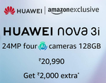 Flat 1500 discount  purchase of Huawei Nova 3i smartphones using Axis Bank Cards at Amazon   7-8 Aug