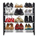 Ebee Foldable Shoe Rack with 4 Shelves (Black)