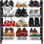 Frazzer Plastic Collapsible Shoe Stand  (Black, 4 Shelves) 71%OFF