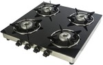 Stainless Steel 4 Burner Manual Gas Stove, Black