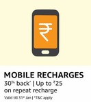 Mobile Recharges Offer: 30% Cashback offer up to Rs.25 amazon