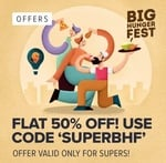 Flat 50% off upto 100 to all Super Users on Swiggy