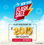6 hours of New Year Flash Sale - Flat 2019 off on flights (Less than 4 hours remaining now) on Easemytrip