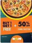 Buy 1 Get 1 Free on Mojo Pizza + 50% Extra upto 100 instant discount + Use 10% Piggybank coins via Zomato