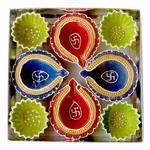 eCraftIndia Terracotta Diya Set (20 cm x 20 cm x 3 cm, Pack of 8, TDIYACD806)
