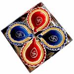 eCraftIndia Terracotta Diya Set (10 cm x 10 cm x 3 cm, Pack of 4, TDIYACD422)