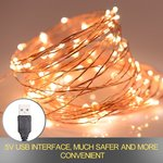 XERGY USB Powered, Waterproof, Copper Wire String Fairy Lights with 50 LEDs (Warm White, 5 Meter)