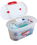 [Lightning deal ]ThinkPro Plastic Medical/First Aid Storage Box (36 cm x 20 cm x 22.6 cm, White & Red) regular price 400