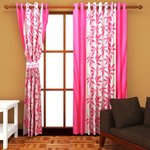 Super India Floral Polyester Window Curtain(Pack of 1) - 5ft, Pink  64%OFF