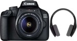 Canon EOS 3000D DSLR Camera Single Kit with 18-55 Lens (Moto Pulse Escape Bluetooth Headset, 16GB Memory Card, Carry Case)  (Black)
