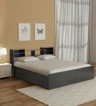 Haku King Bed with Headboard and Box Storage in Wenge Finish by Mintwud