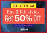 NNNOW Deal Of The Day : Buy 2 Fab Styles and Get 50% OFF on Apparels and Accessories