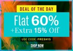 NNNOW Deal Of The Day : Flat 60% + Extra 15% OFF on Apparels and Accessories